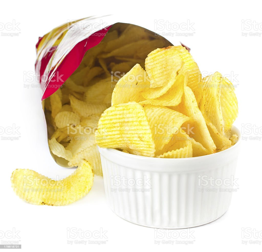 Open bag with potato chips on white background stock photo