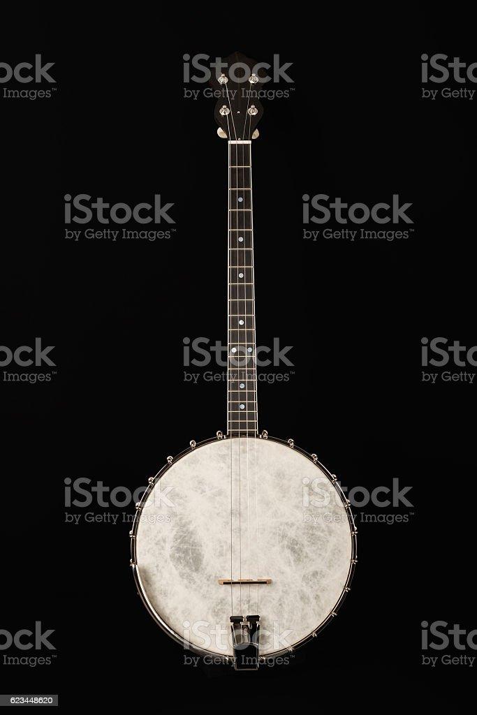 Open Banjo on black background stock photo