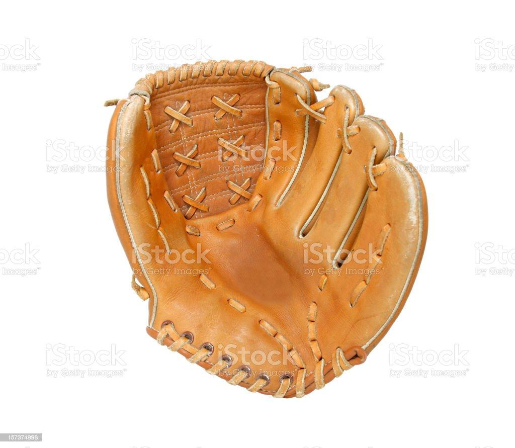 Open baseball glove on white background stock photo