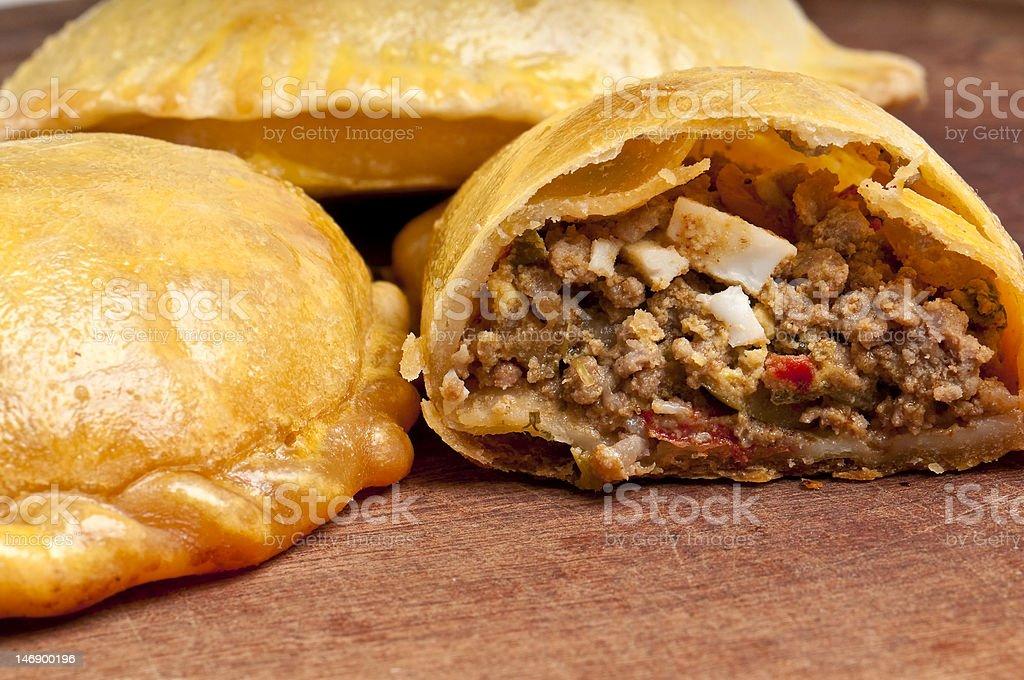 Open beef empanada stock photo
