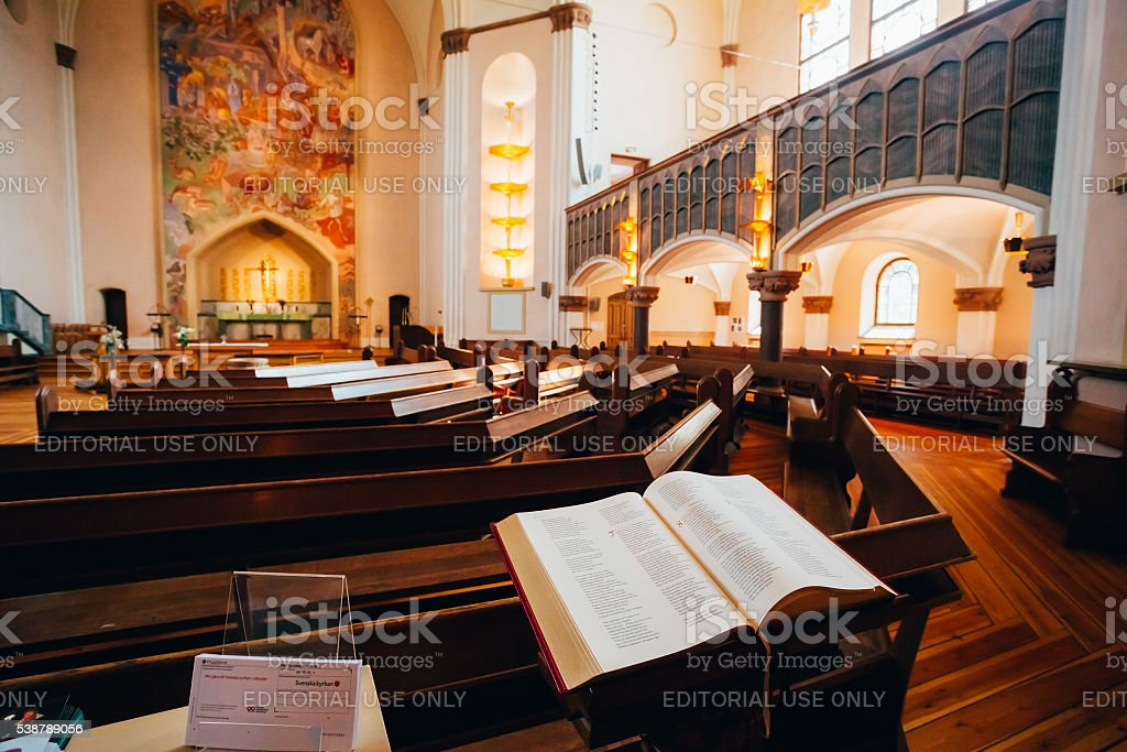 Open Bible book in Sofia Kyrka Church in Stockholm, Sweden. stock photo