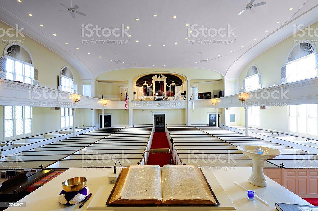 Open Bible, Church Interior stock photo