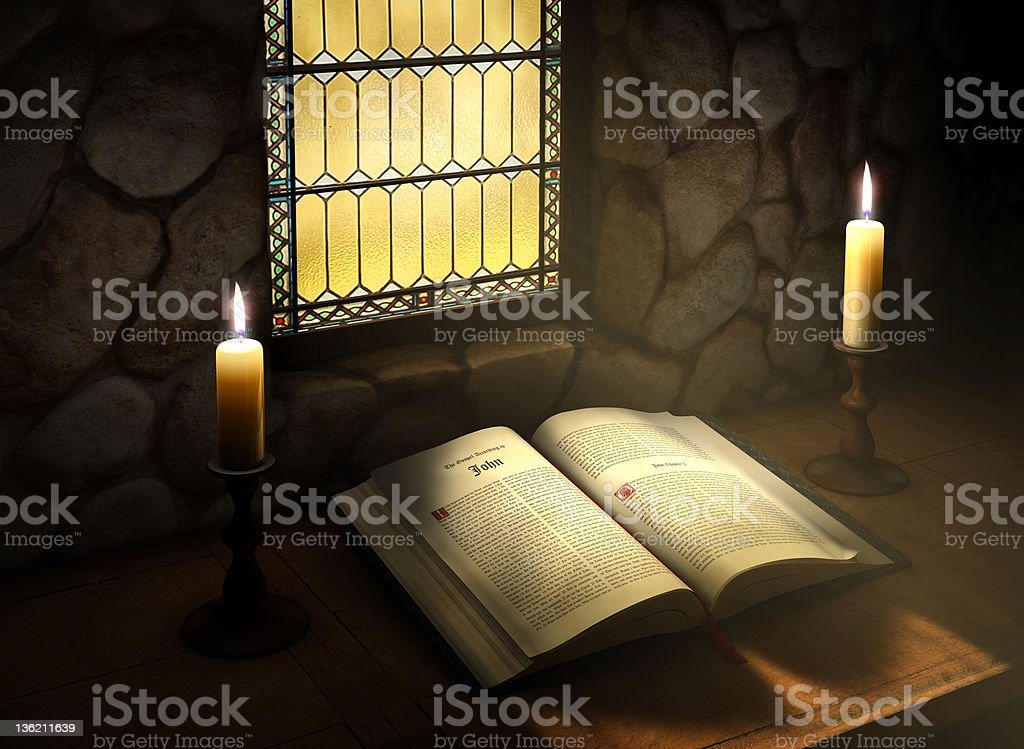 Open Bible in Sunlight royalty-free stock photo