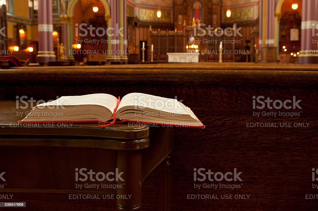Open Bible, interior Cathedral of the Madeline stock photo