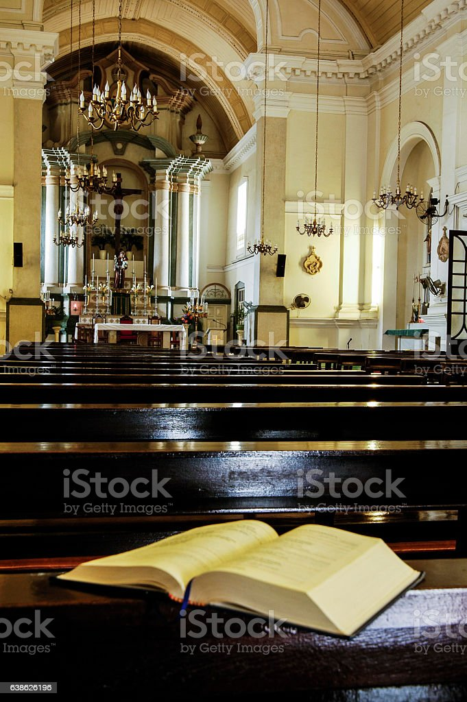 Open Bible on Altar inside Anglican Church stock photo