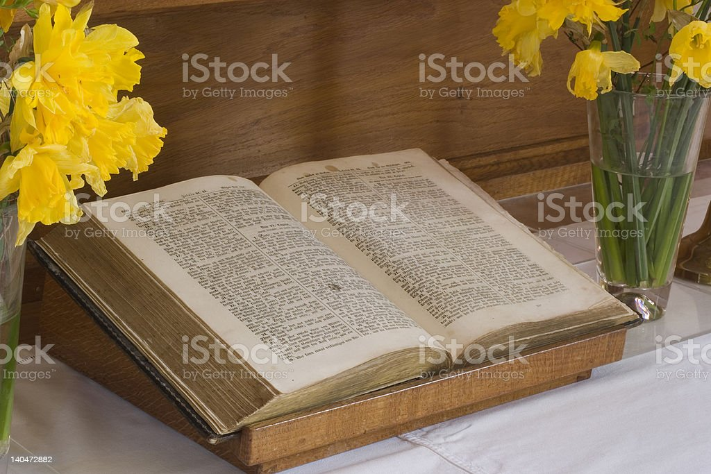 Open bible on an altar royalty-free stock photo