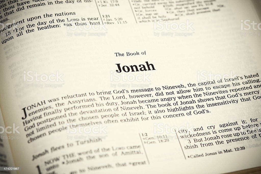Open Bible ,The Book of Jonah stock photo