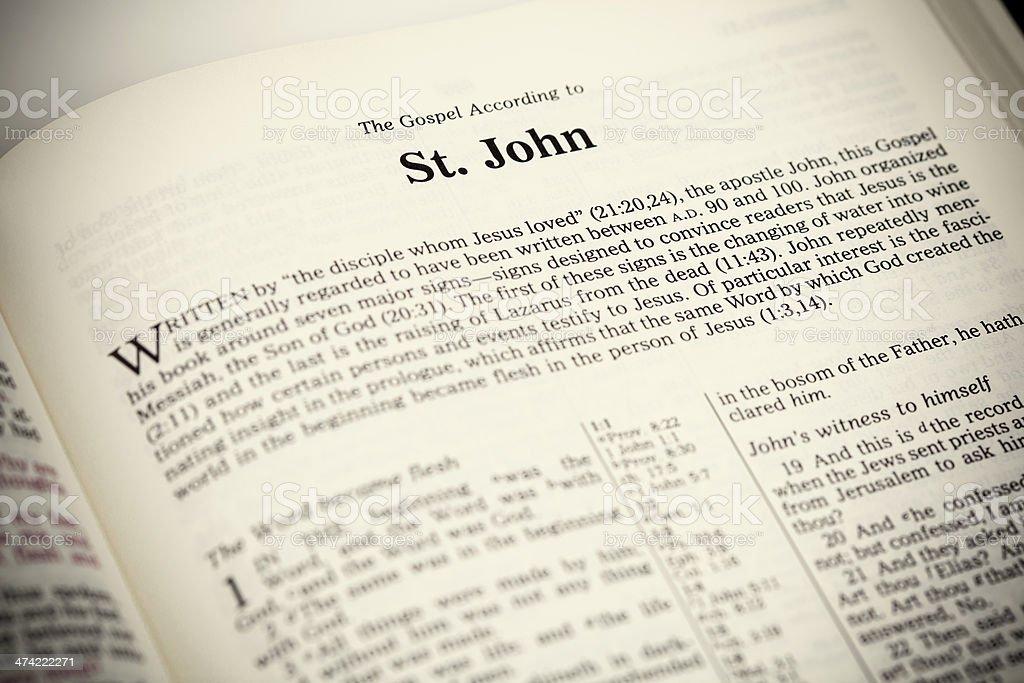 Open Bible ,The Gospel According to John stock photo