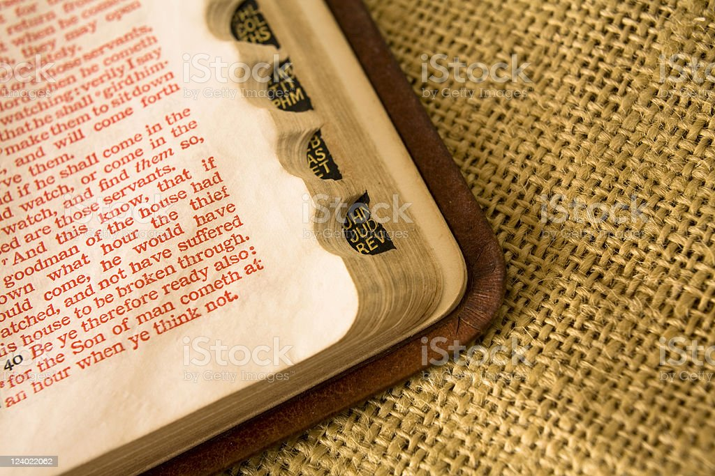 Open Bible to red letter scriptures. stock photo