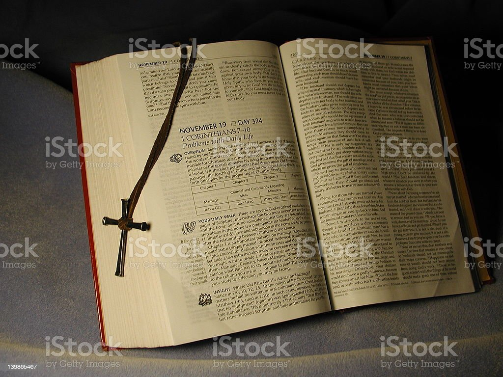 Open Bible with Cross royalty-free stock photo