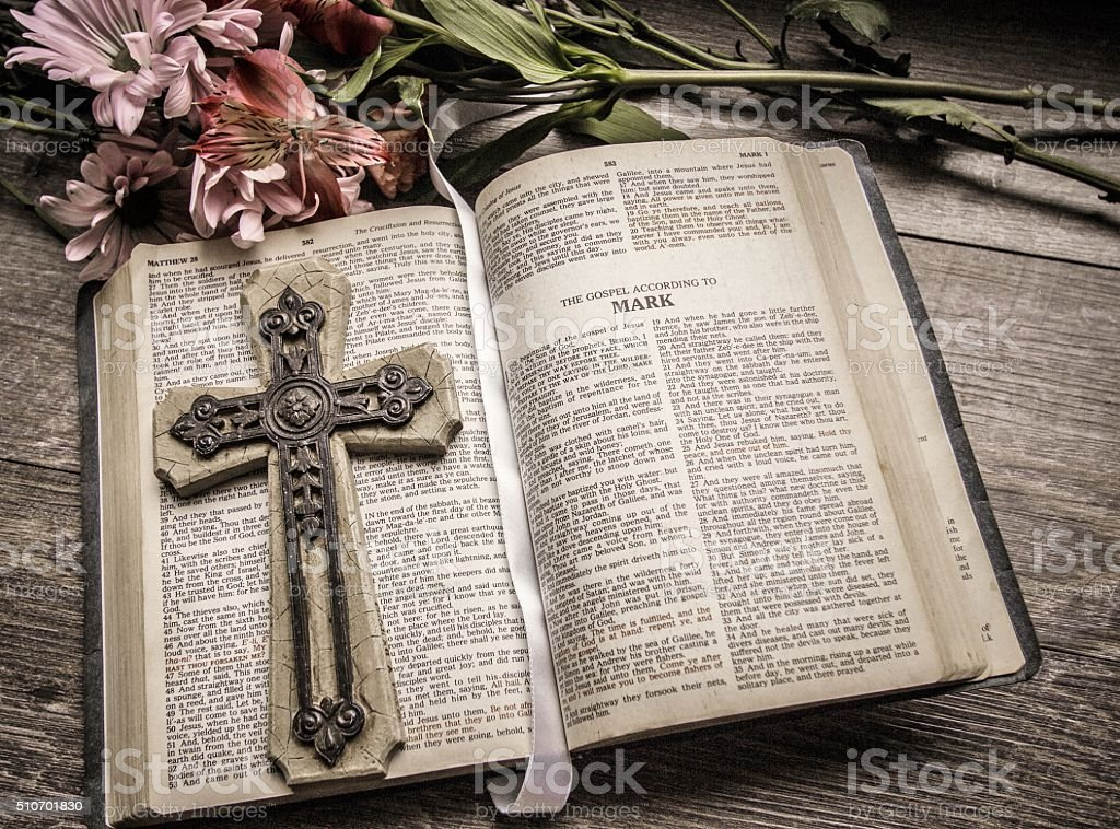 Open Bible With Crucifix And Bookmark stock photo
