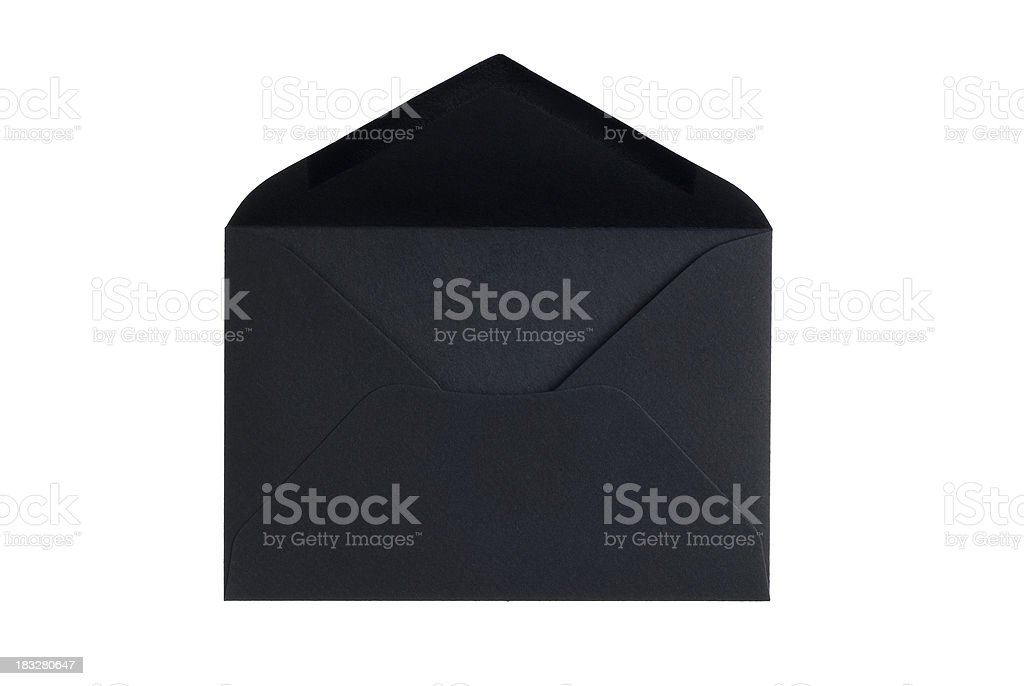 Open black envelope with clipping path stock photo