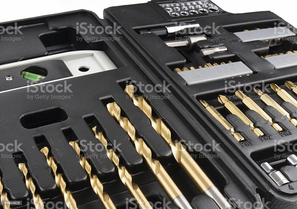 Open black tool case stock photo