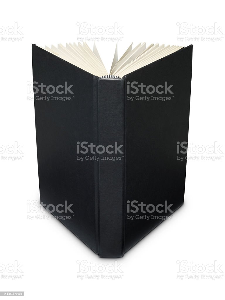 Open blank black book stock photo