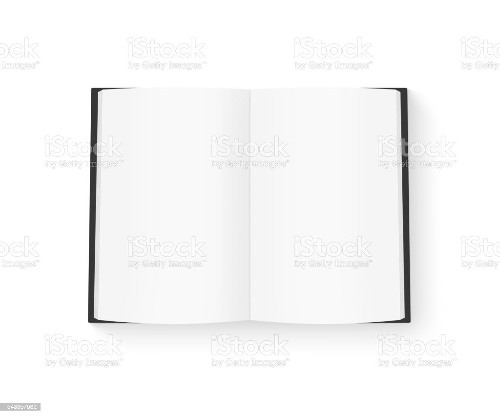 Open blank book mock up isolated on white. Black cover. stock photo