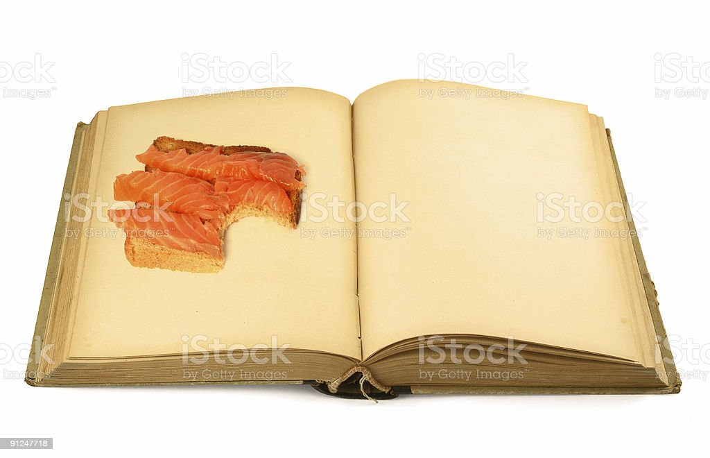open blank book with sandwich royalty-free stock photo