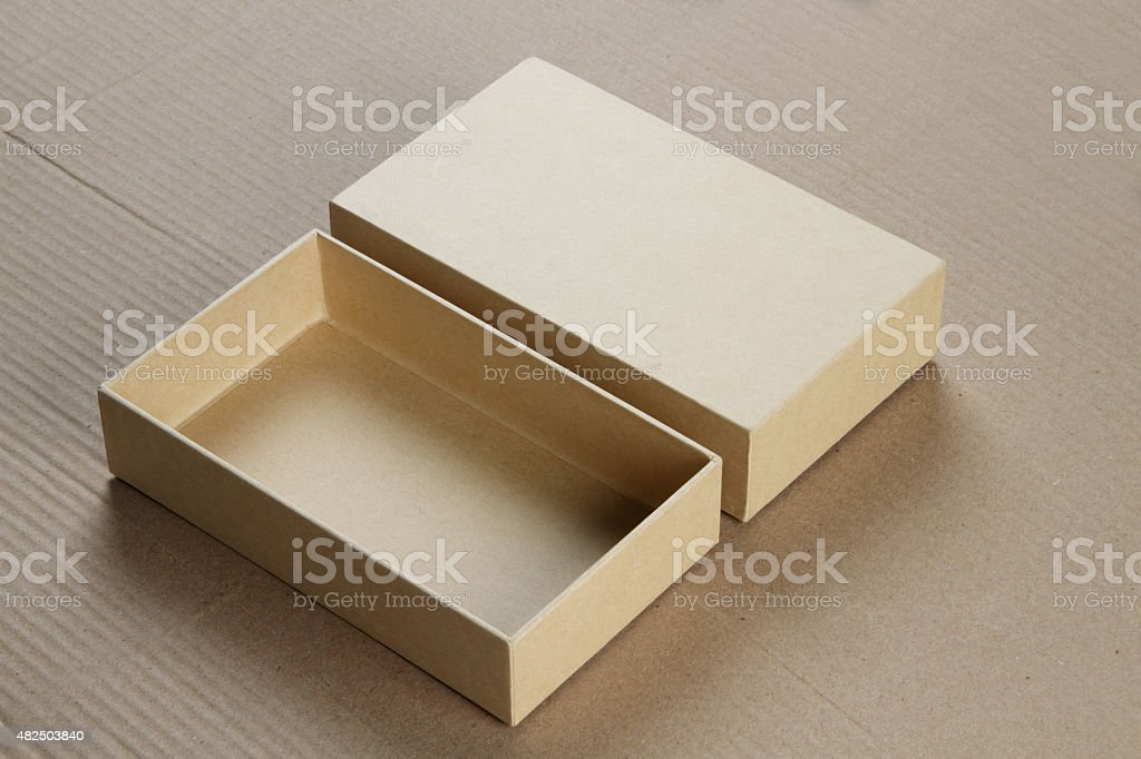 Open Blank Cardboard Box for Mockup stock photo