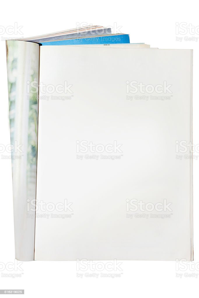 Open blank magazine isolated stock photo