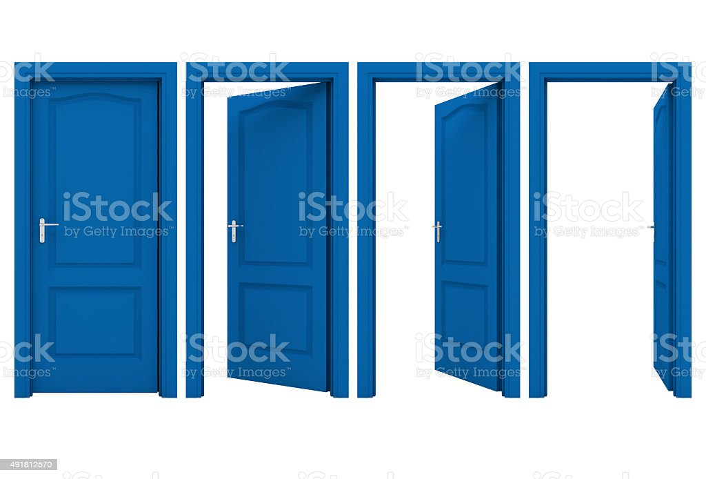 Open blue door stock photo