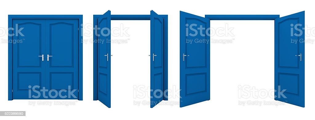 Open blue double door isolated on a white background. stock photo