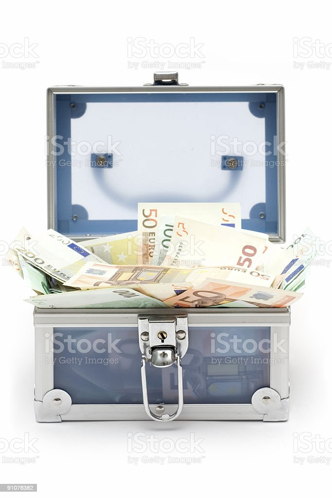 Open Blue Money Chest stock photo