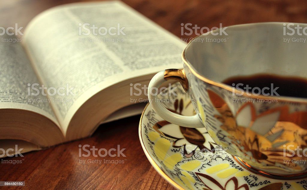 open book and morning coffee stock photo