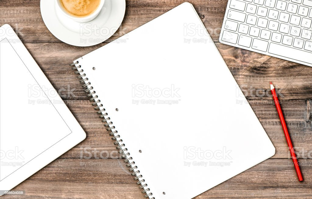 Open book digital tablet pc coffee Office workplace Business plan stock photo