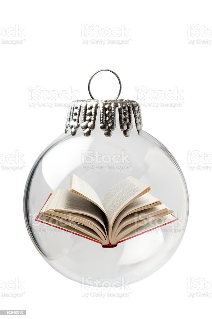 Open Book In a Christmas Ornament stock photo