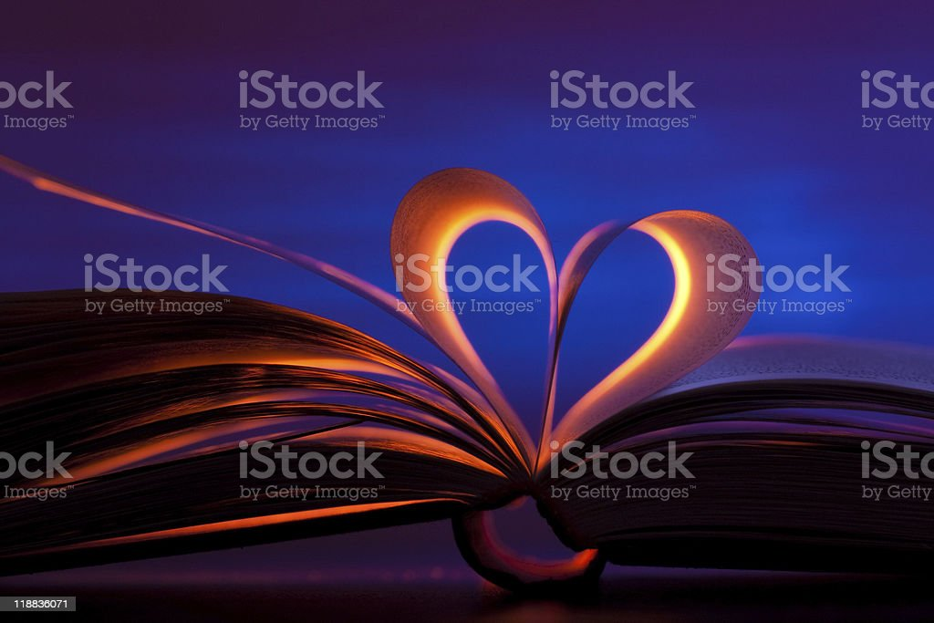 Open book in heart shape royalty-free stock photo