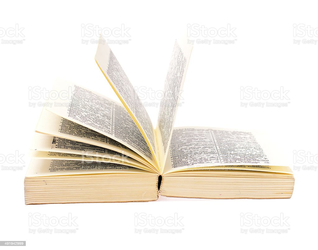Open Book Islated on White Background stock photo
