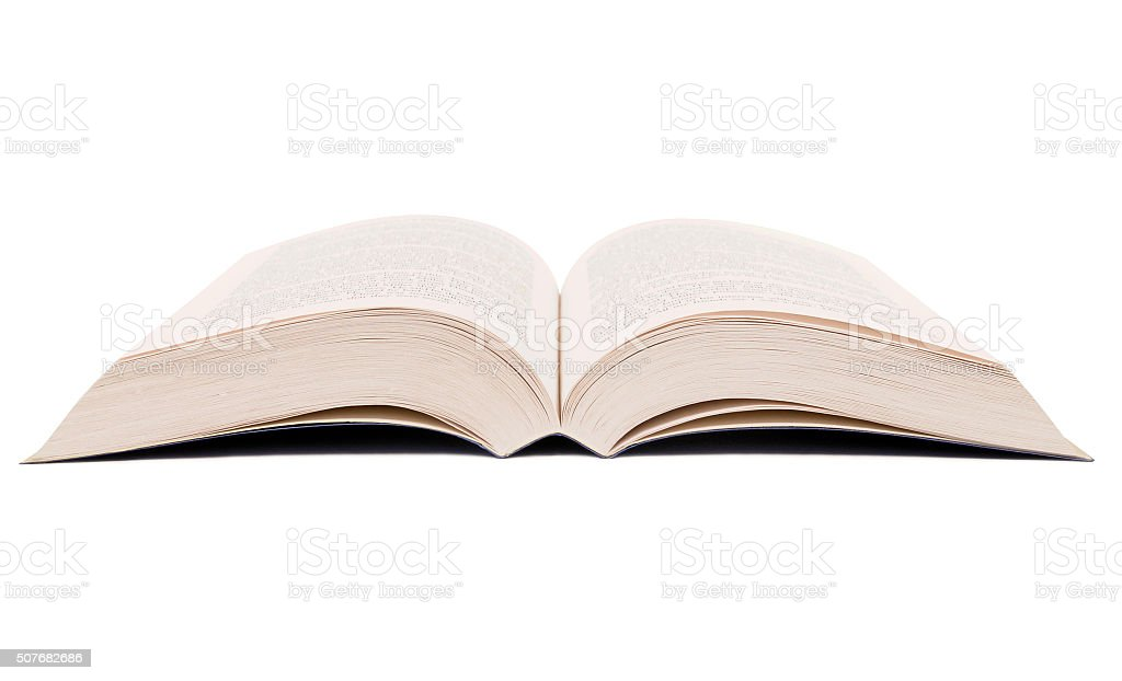 Open book isolated on white background. stock photo