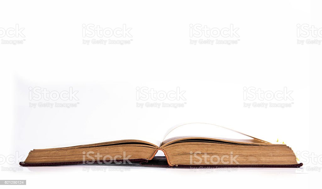 Open book isolated on white background stock photo