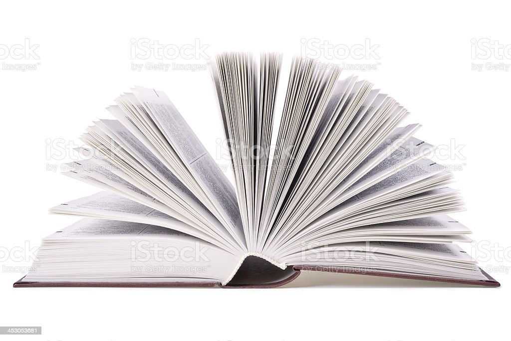 Open book isolated on white stock photo