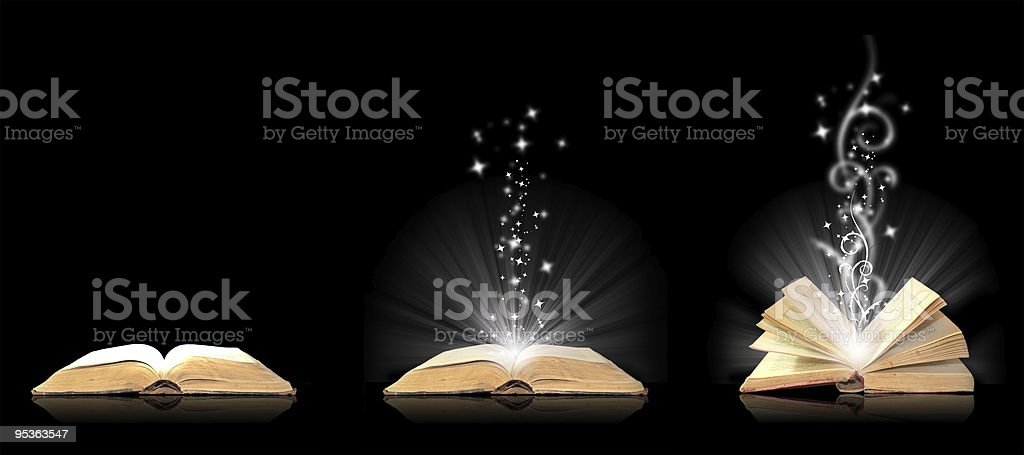 Open book magic on black royalty-free stock photo