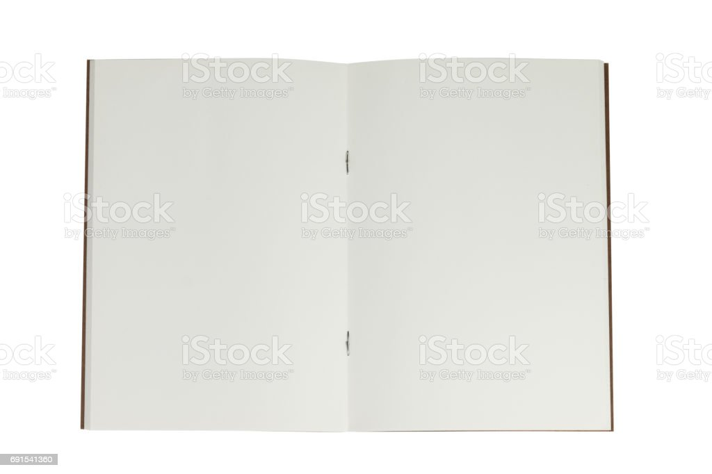 Open book note on white background stock photo