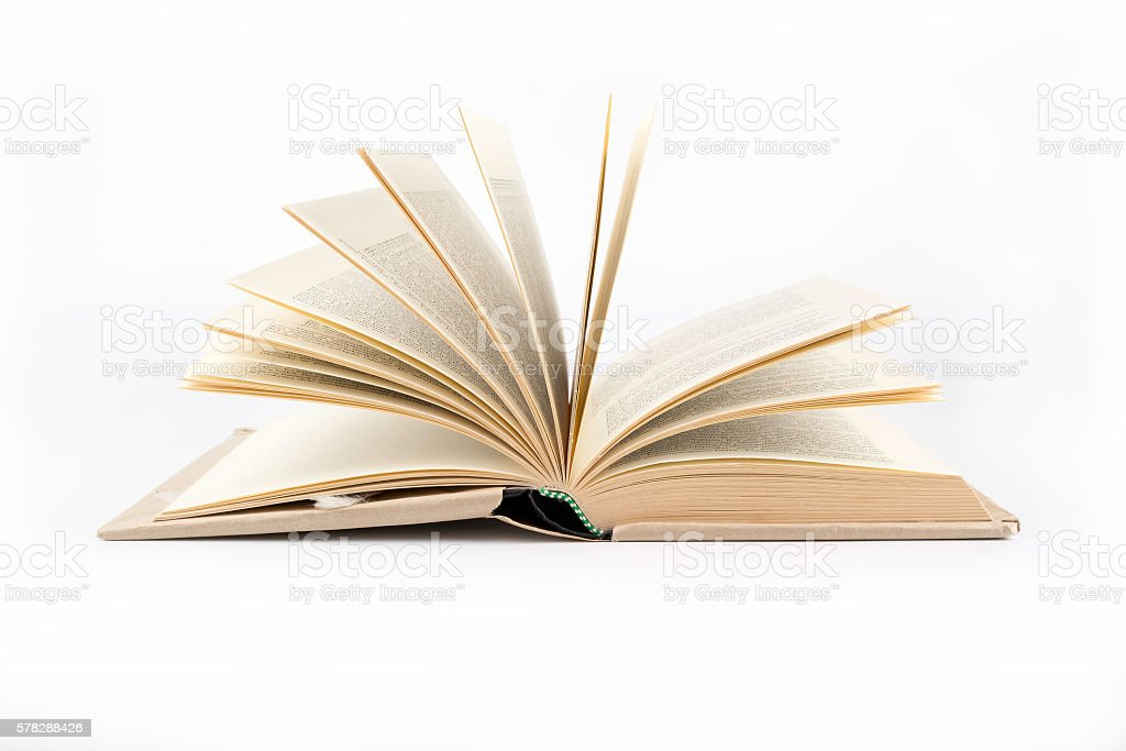 Open book on a white background stock photo