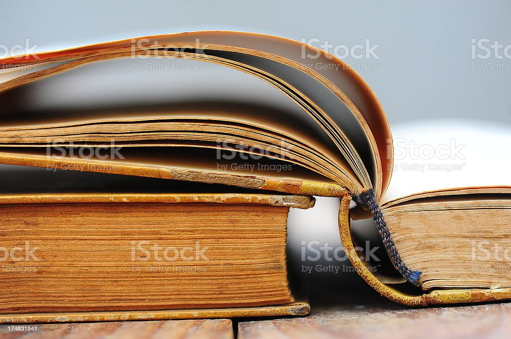 Open book on table royalty-free stock photo