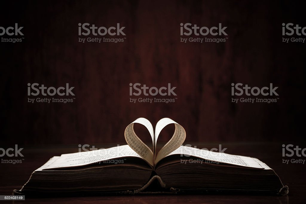 Open Book On Table stock photo