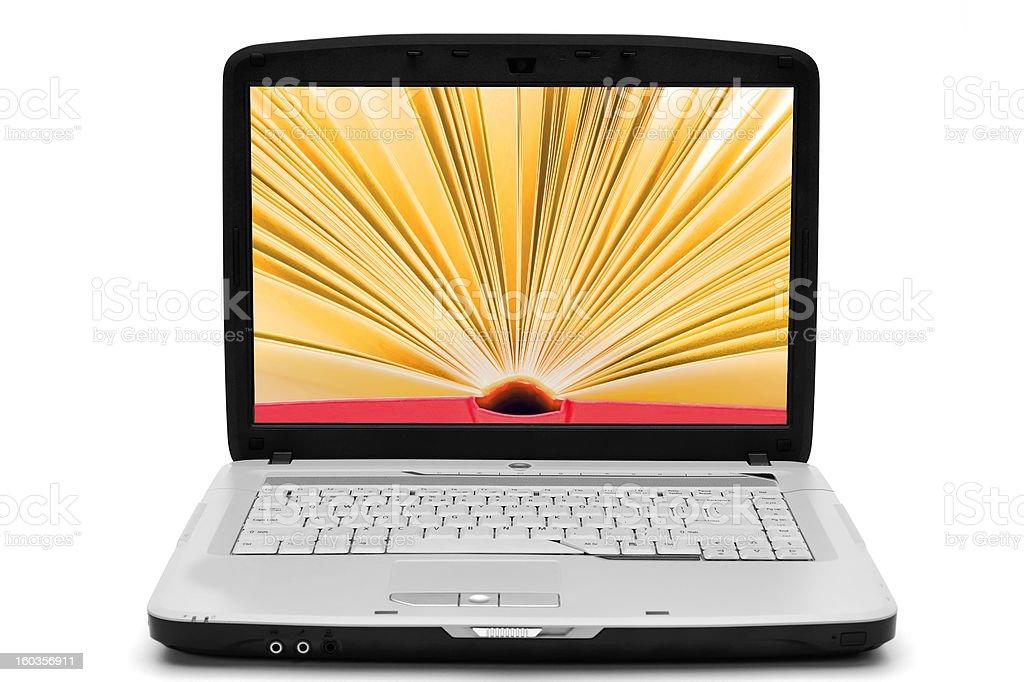 Open book on the laptop screen , e-book royalty-free stock photo