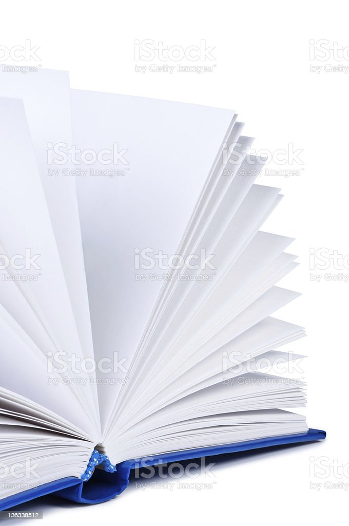 Open book on white background. royalty-free stock photo