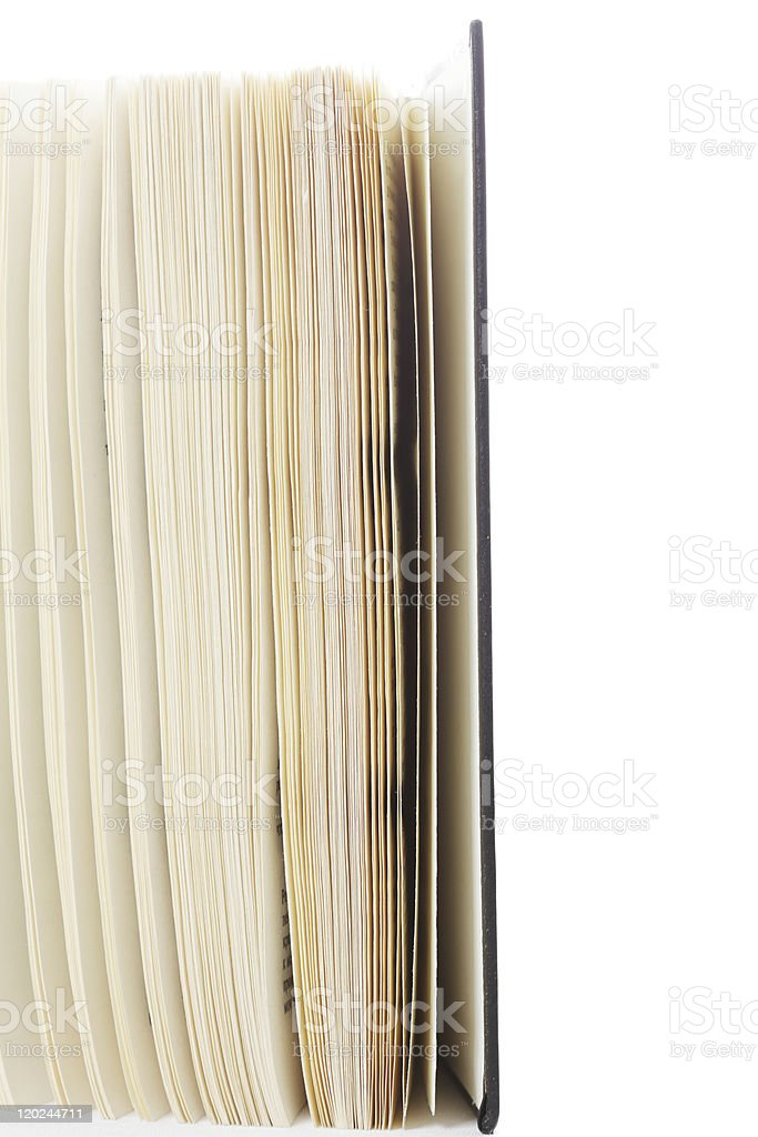 Open book segment side-view stock photo
