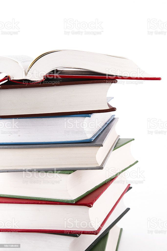 open book stacks isolated on white background royalty-free stock photo