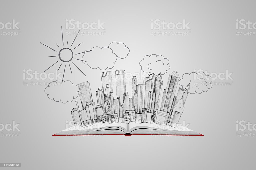 Open book with a picture of the urban landscape on stock photo