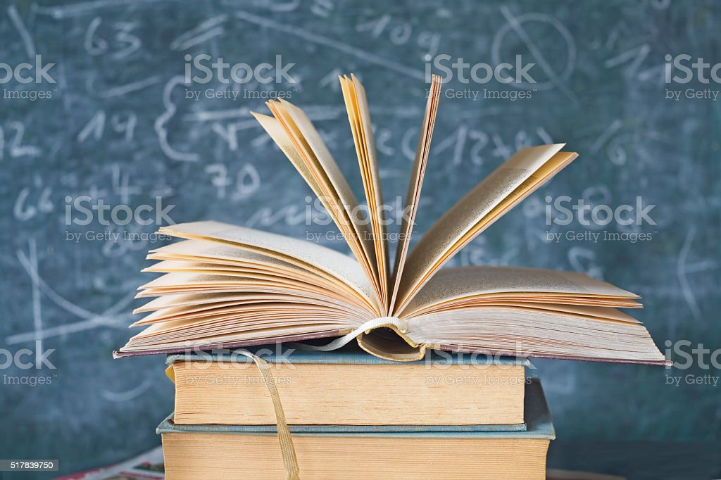 open book with black board stock photo