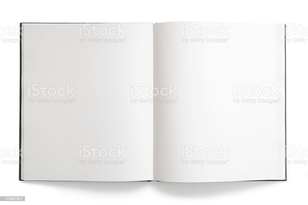 Open book with blank, empty pages on white background royalty-free stock photo