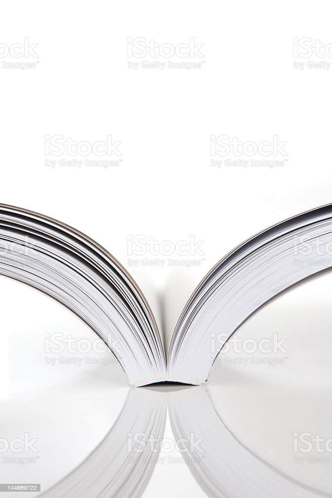 Open book with blank pages on a white background royalty-free stock photo