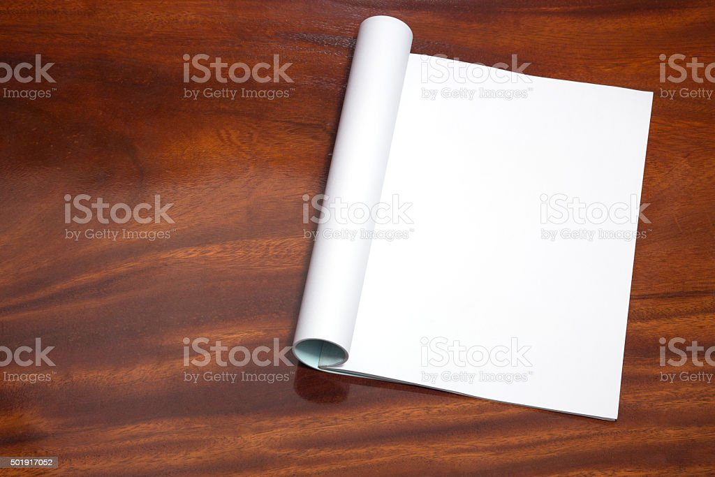 open book with blank pages on wood table stock photo