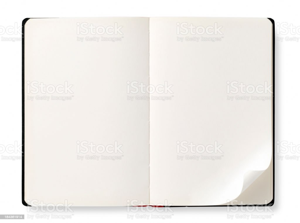 Open book with empty pages stock photo