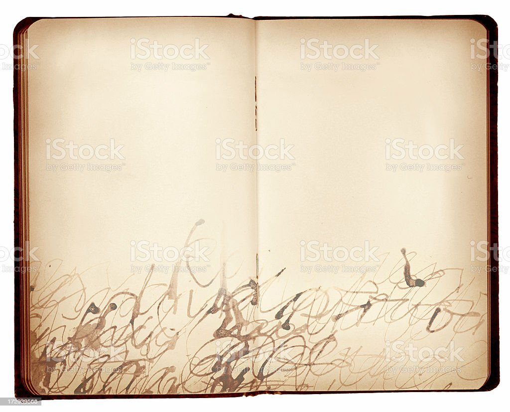 Open Book with handwrited texture royalty-free stock photo