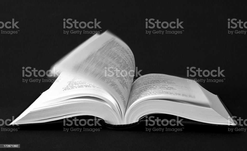 Open book with pages flipped by the wind royalty-free stock photo